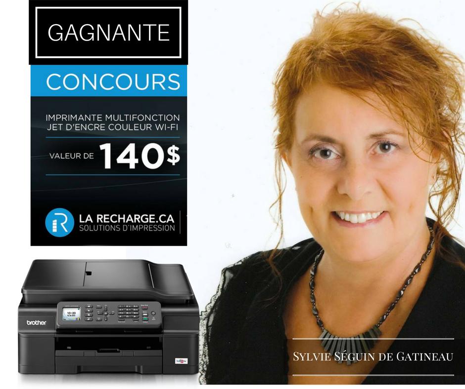 Félicitation à Mme Sylvie Séguin qui remporte l'imprimante