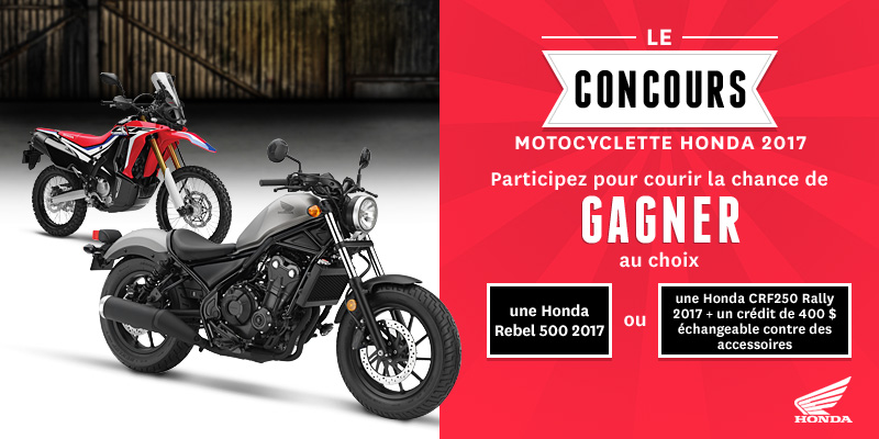 gagner une moto honda rebel 500 d 39 une valeur de 6 699. Black Bedroom Furniture Sets. Home Design Ideas