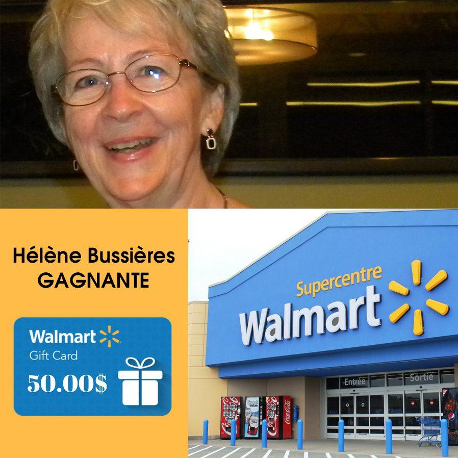 Gagnante du concours : Gagnez une carte cadeau de Walmart d'une valeur de 50$