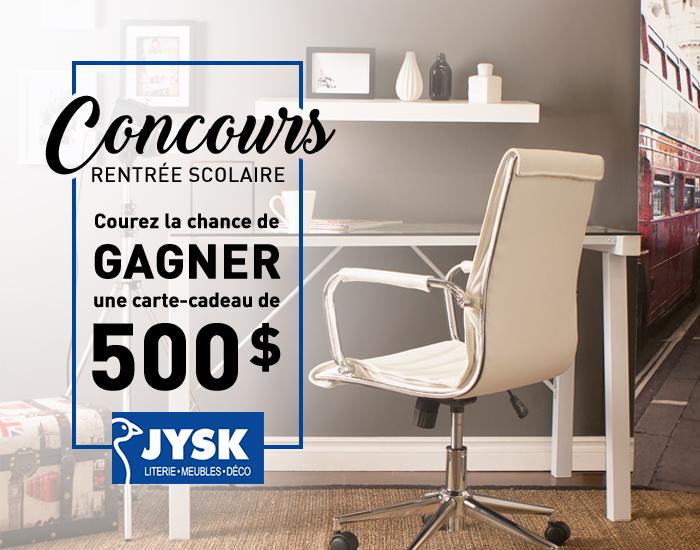 Concours - Gagner une carte-cadeau JYSK d'une valeur de 500$