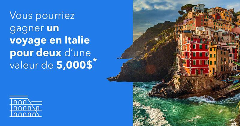 Concours – Gagnez un voyage en Italie pour 2 personnes d'une valeur de 5 000$