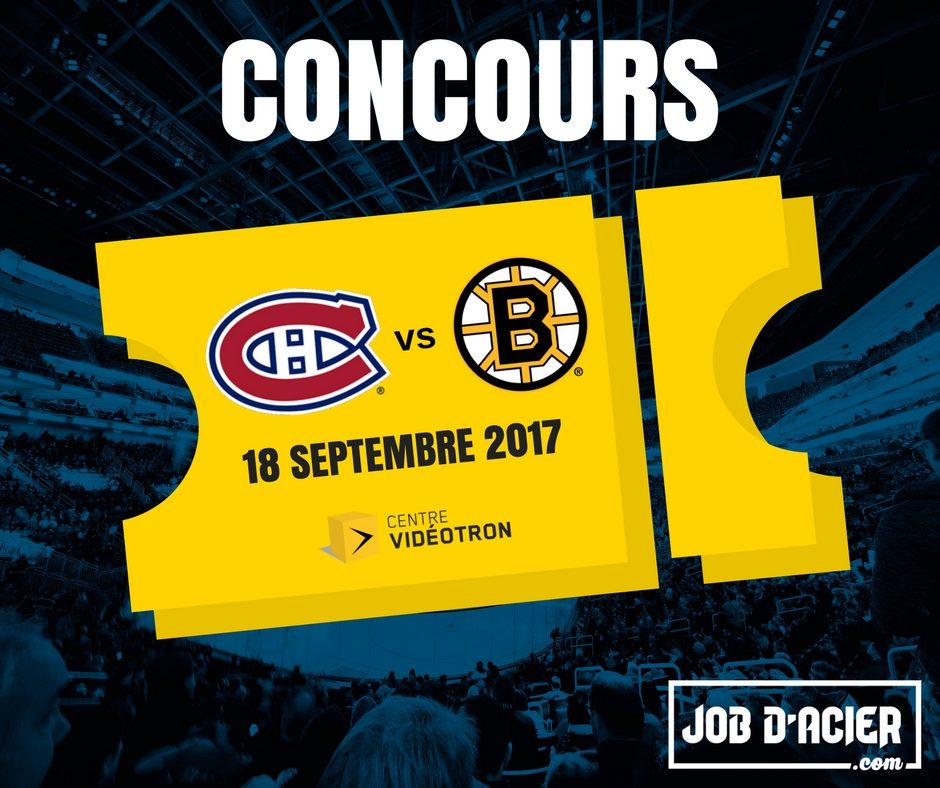 Concours - Gagner une paire de billet pour le match des Canadiens le 18 septembre