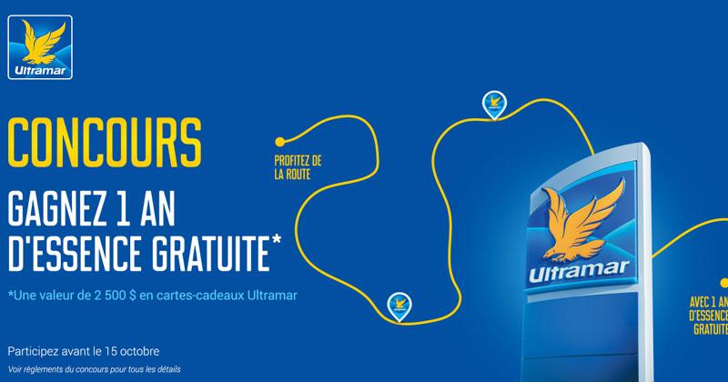 Gagner 1 an d'essence une valeur de 2500$ en carte cadeau d'Ultramar