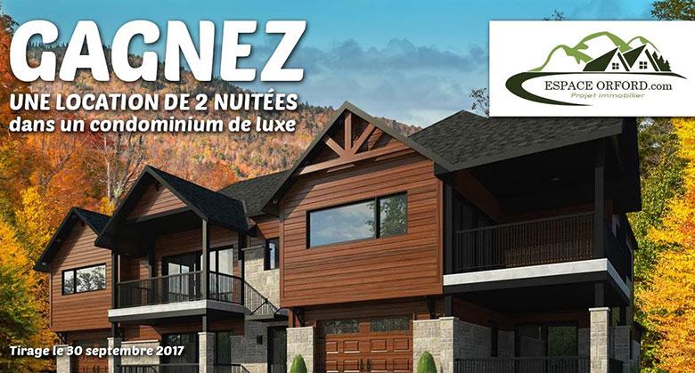Concours - Gagner UN 2 NUITÉES DANS UN CONDOMINIUM DE LUXE MONT ORFORD