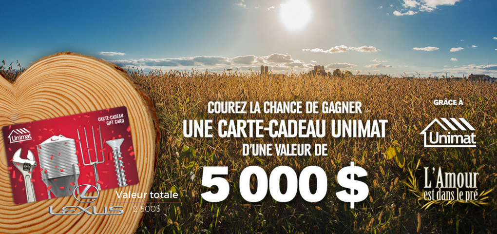 CONCOURS   Courer la chance de gagner une carte-cadeau Unimat (Valeur de 5000$)