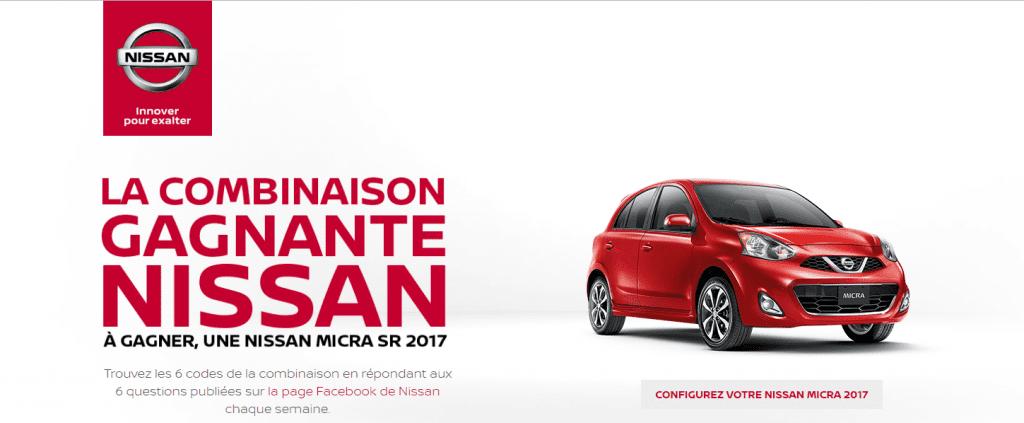 Gagne une voiture Nissan Micra 2017 (Valeur de 17 138$)