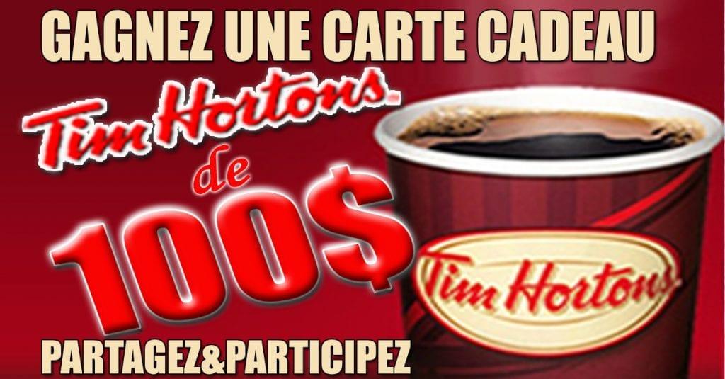 Gagnez une carte-cadeau Tim Horton's d'une valeur de 100$