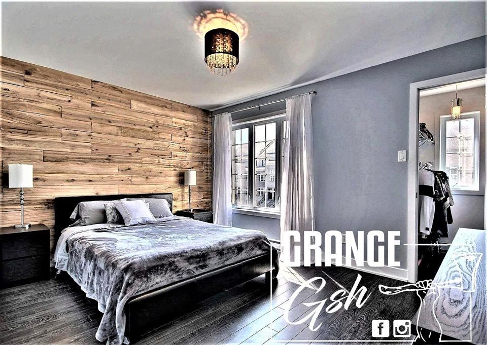 image chambre adulte réalisation bois de grange murale