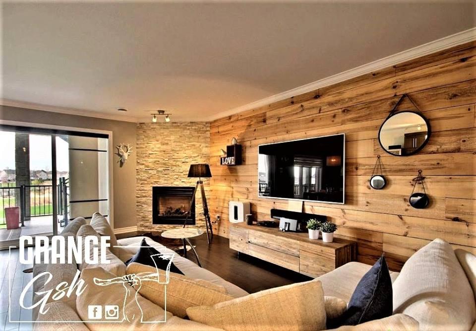 image salon détente réalisation bois de grange murale