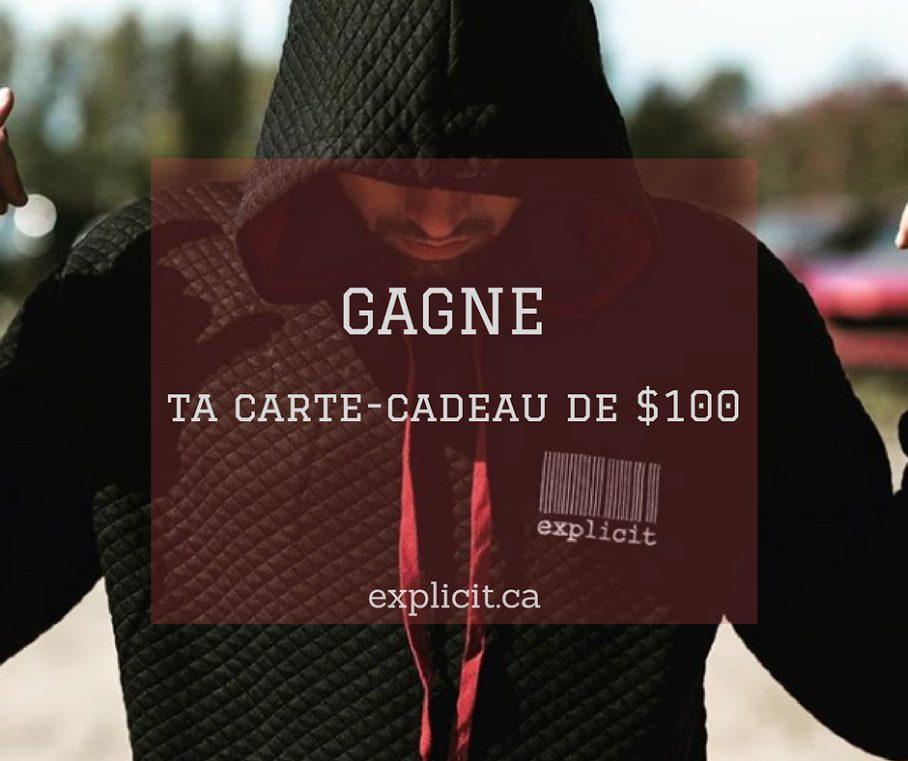 Concours Explicit Shop - Gagnez une Carte-Cadeau Explicit de 100$