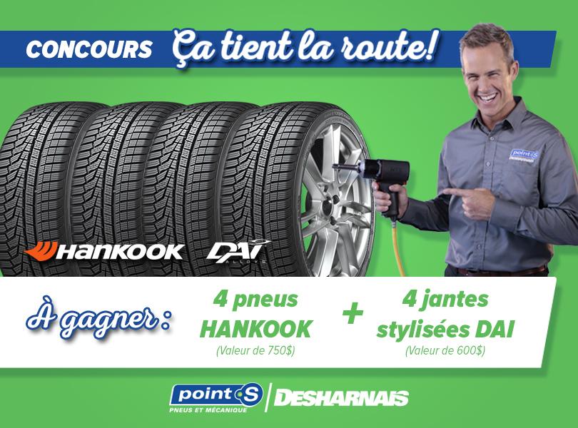 Concours Desharnais pneus & mécanique - Gagnez 4 pneus Hankook