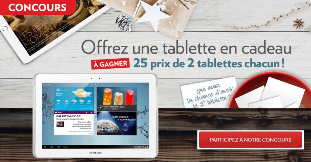 Courez la chance de gagner 25 Tablettes iPad Air ou Samsung Galaxy au choix