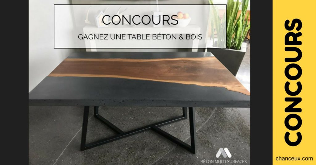 concours courez la chance de gagnez une table en b ton bois. Black Bedroom Furniture Sets. Home Design Ideas