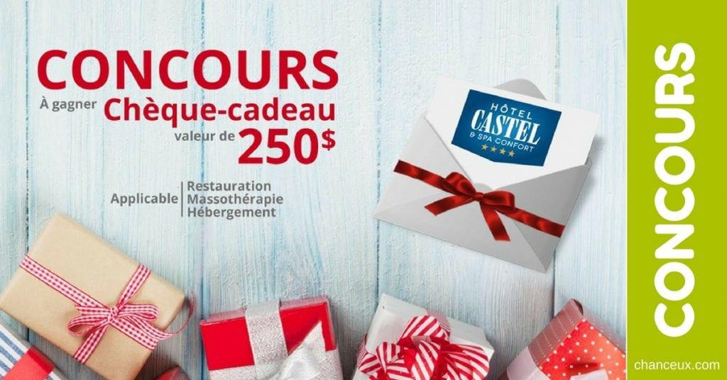 CONCOURS Gagnez une Carte-Cadeau de 250$ à l'Hotel Castel & Spa Confort