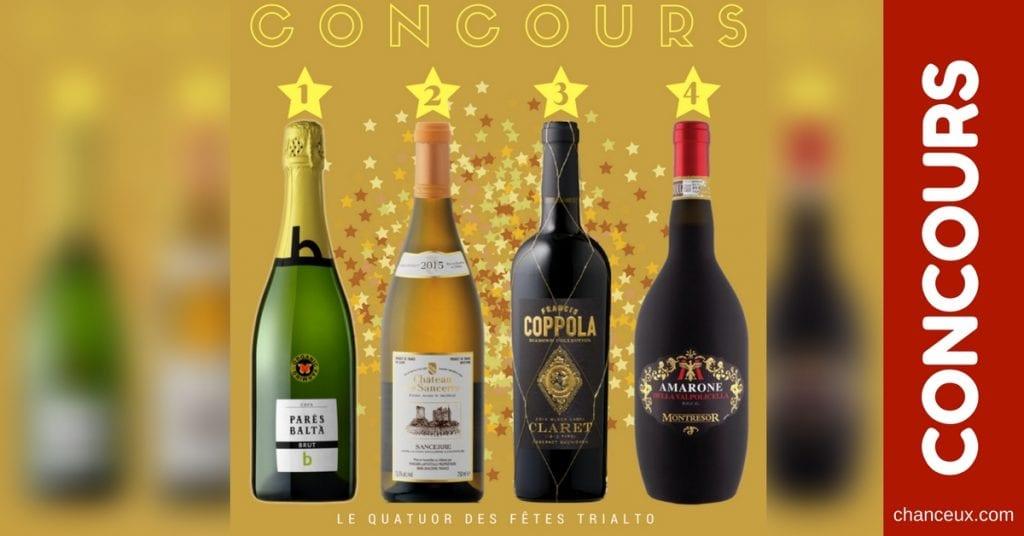 Courez la chance de gagner le quatuor de vin des fêtes Trialto !