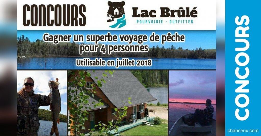 concours voyage de pêche pour 4 personnes au club lac brûlé pourvoirie