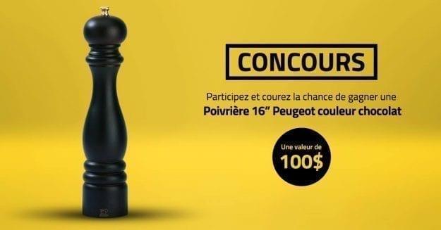"""CONCOURS – Gagnez une poivrière 16"""" Peugeot couleur chocolat d'une valeur de 100$."""