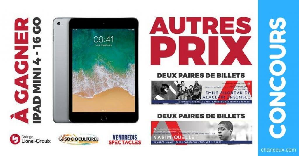CONCOURS TABLETTE APPLE - Gagnez un iPad mini 4