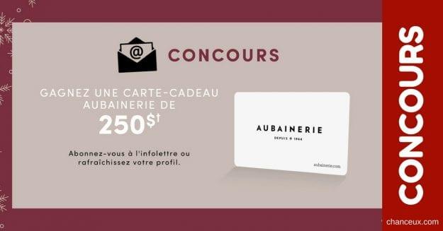 CONCOURS – GAGNEZ une carte cadeau de 250$ de l'Aubainerie