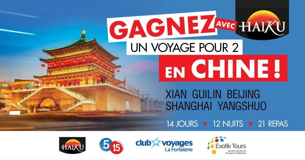 CONCOURS - Gagner un voyage pour 2 en Chine! Valeur de 2700$