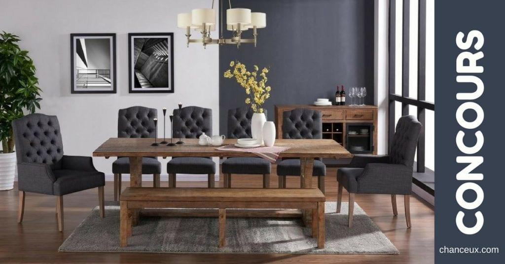 Gagnez cette merveilleuse table en bois incluant 6 chaises et la banquette !