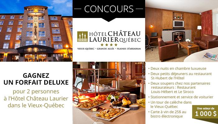 Gagnez un forfait de luxe pour deux à L'Hôtel Château Laurier Québec!