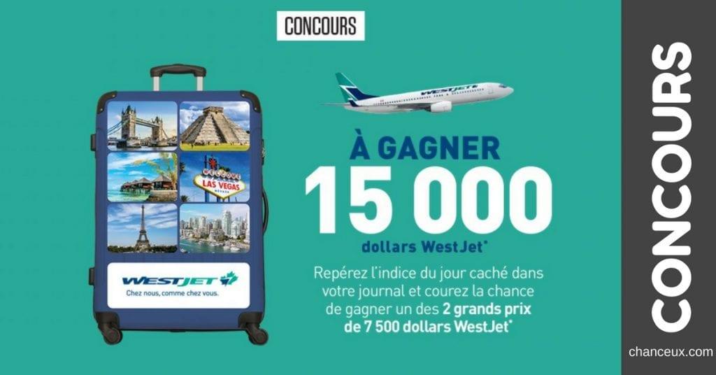 Gagnez l'un des 2 grands prix de 7 500 $ WestJet !