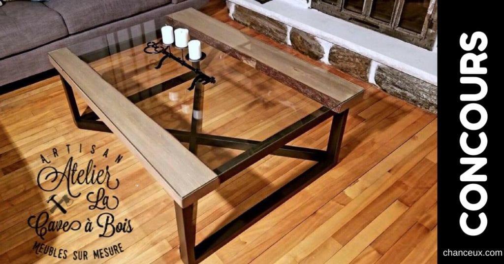 Gagnez cette table de salon en pin avec un dessus en verre trempé!