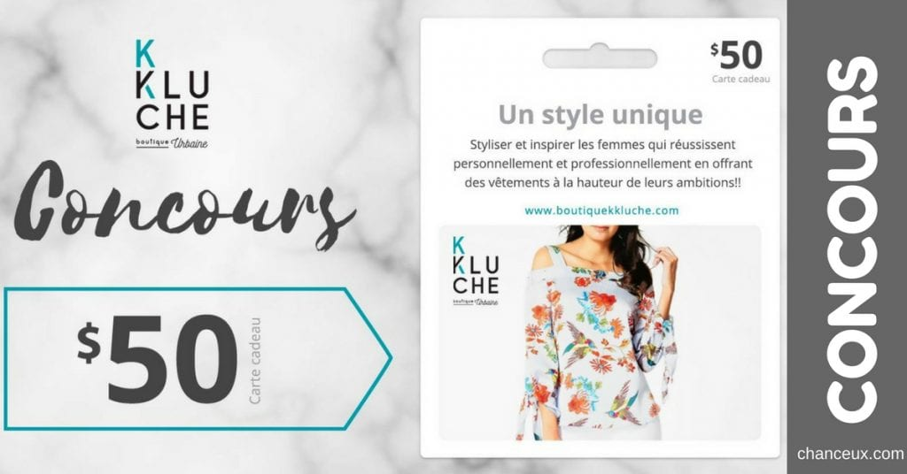 Gagnez une carte cadeau de 50$ à la boutique en ligne KKluche!