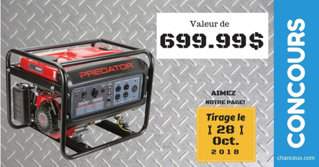 Concours - Gagne une génératrice de 4000 watts d'une valeur de $699.99
