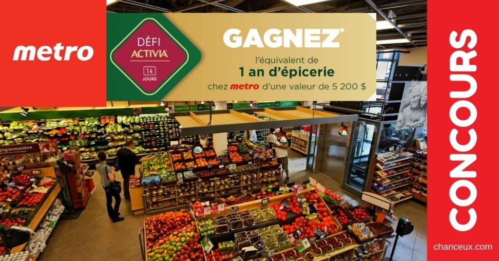 Concours du Québec - Gagne un an d'épicerie chez metro (valeur de 5 200$)