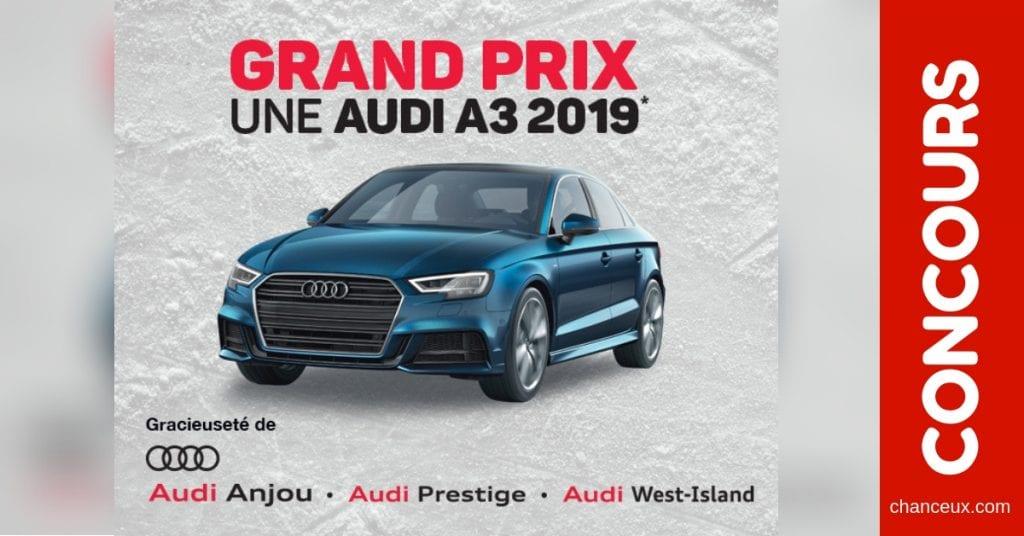 Concours du Québec - Gagnez une voiture Audi A3 2019 (40,000 $)
