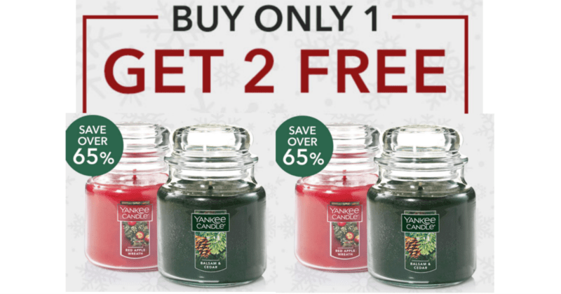 1st EVER! Purchase 1 Get 2 FREE Yankee Candle Medium Jar