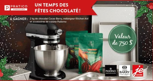 deux kg de chocolat et un mélangeur sur socle Kitchen Aid