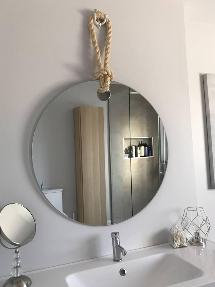 Gagneun magnifique miroir fait à la main noué d'une corde de matelot