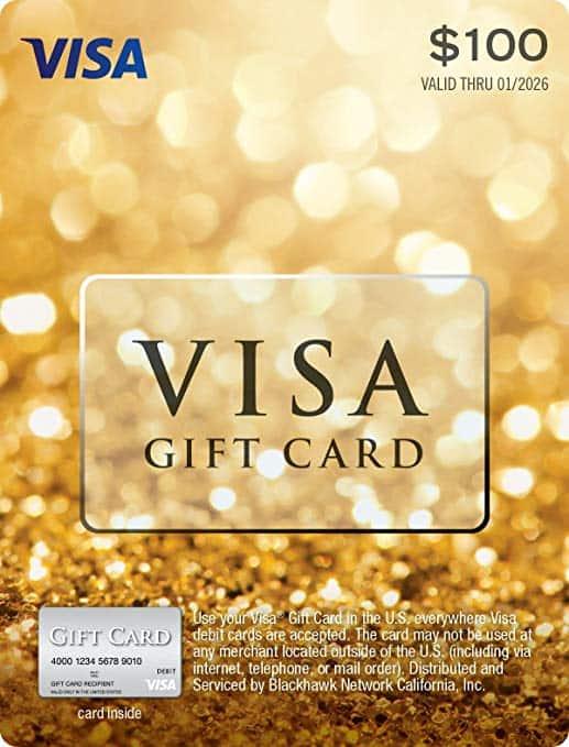 Une Carte cadeau Visa de 100$
