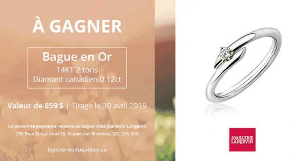 Une Bague en or 14kT 2 tons diamant canadien 0.12ct