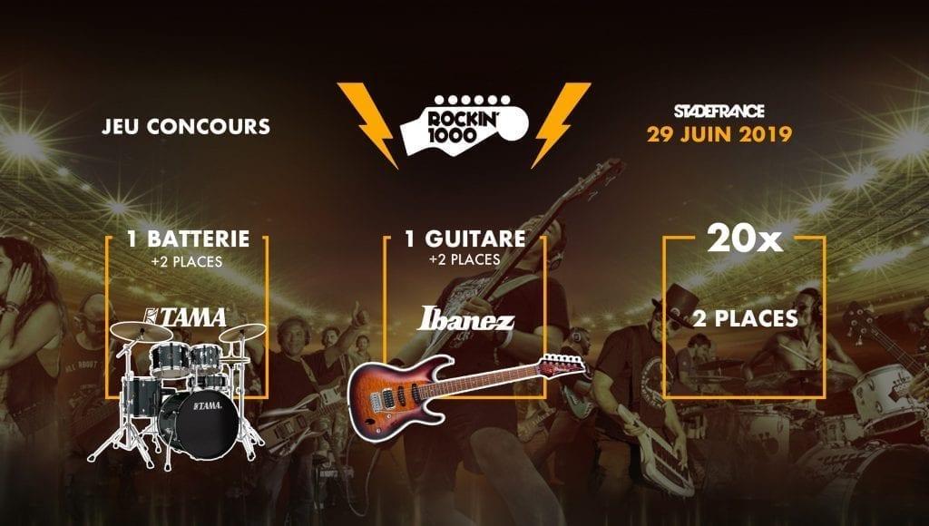 Rockin'1000,1 guitare,1 batterie et des places à gagner