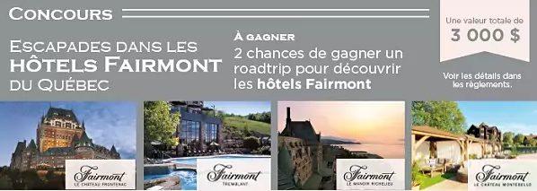 Gagner un road trip dans les hôtels fairmont