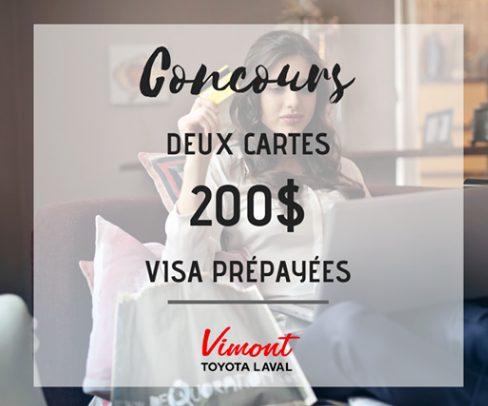 2 cartes visa prépayées de 200$
