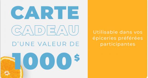 1000$ En Cartes-cadeaux À L'épicerie De Votre Choix