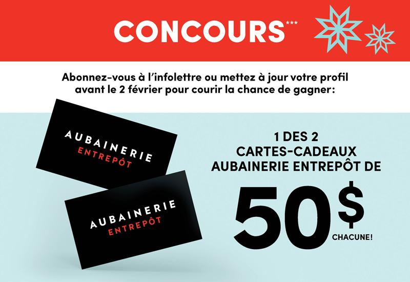 2 cartes-cadeaux Aubainerie Entrepôt offertes