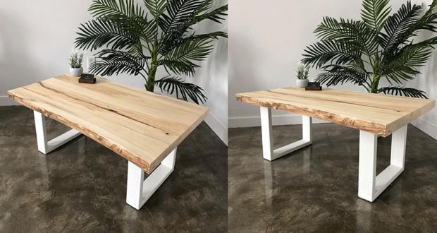 Une table de salon en peuplier avec époxy