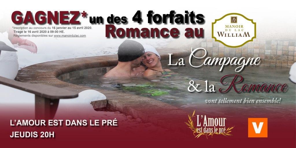 4 Forfaits Romance pour 2 au Manoir du lac William