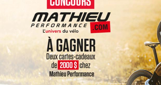 Gagnez 2 cartes-cadeaux Mathieu Performance