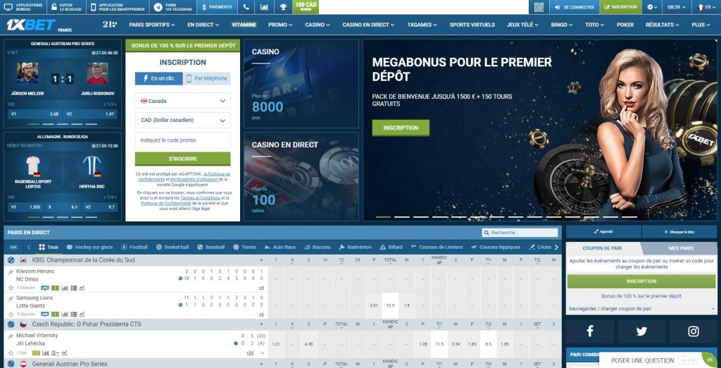 Page acceuil web site 1xbet