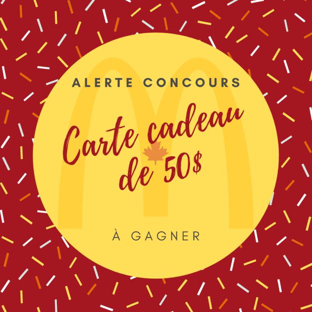 Concours Québec – Une Carte-cadeau Mcdonald's De 50$ À Gagner