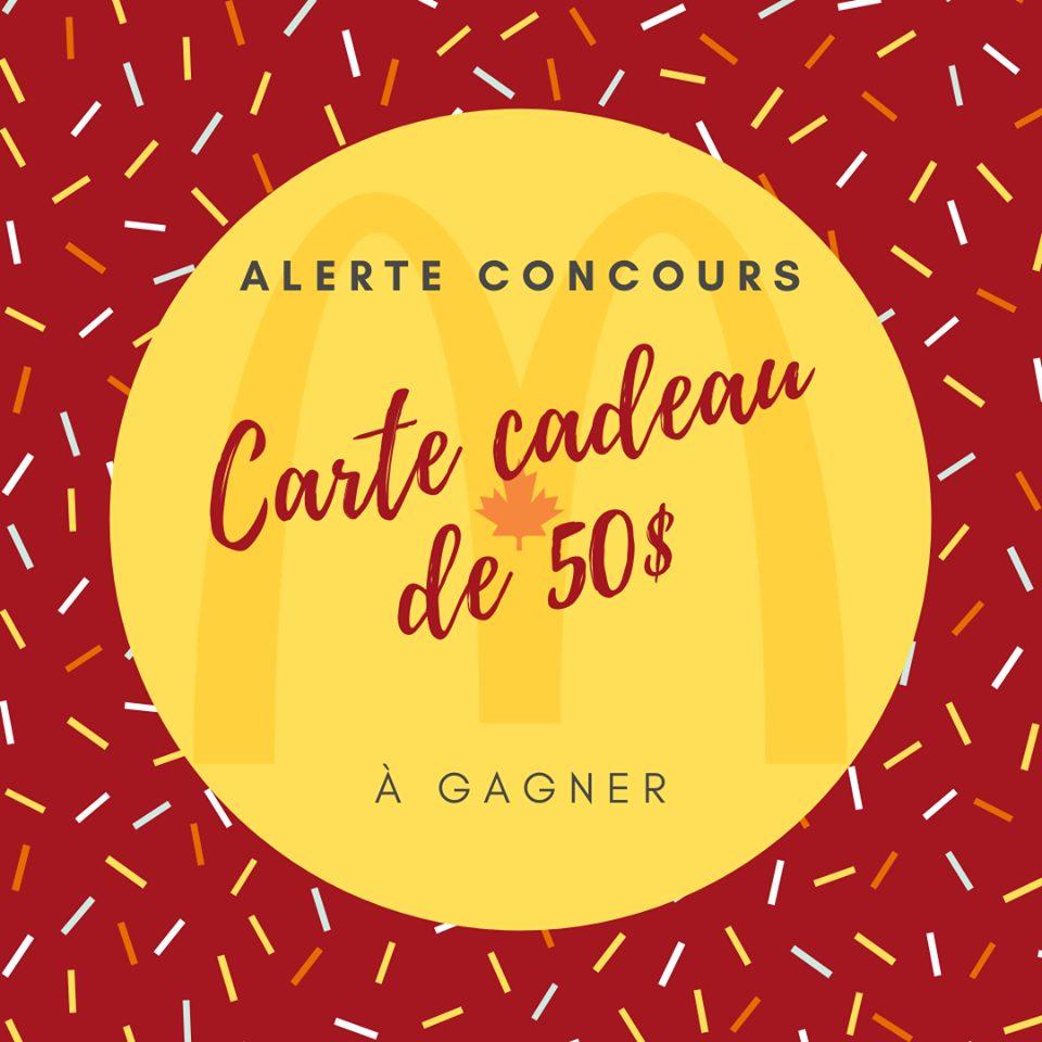 Une Carte-cadeau Mcdonald's De 50$ À Gagner