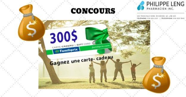 Concours Québec – Une Carte Cadeau Familiprix De 300$