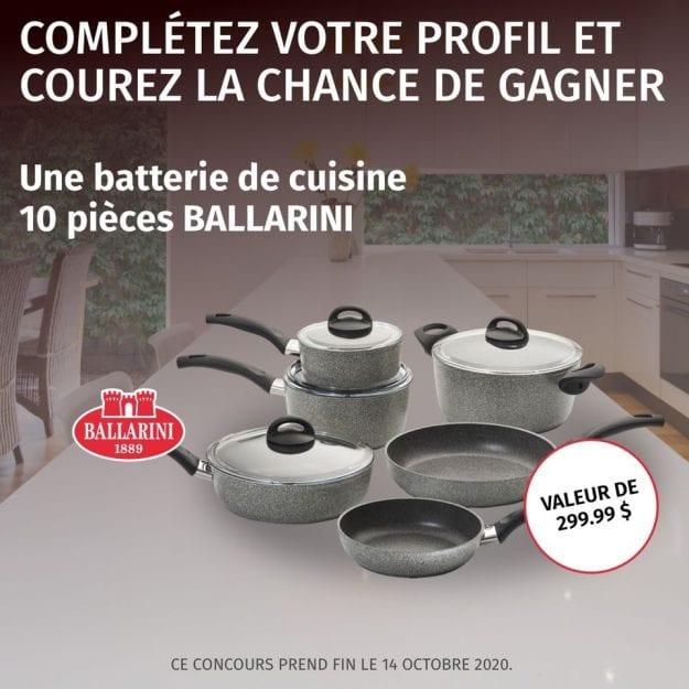 Concours Québec – Une Batterie De Cuisine 10 Pièces De Marque Ballarini
